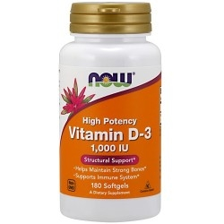 Vitamina D Now Foods, Vitamin D-3 1000 IU, 180 cps